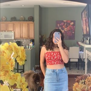 red floral garage tube top